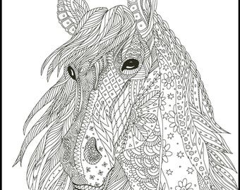 adult coloring pages horse Printable Coloring Page Adult Coloring Pages Horse | Etsy adult coloring pages horse