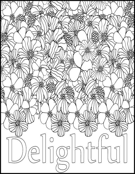 Delightful Positive Word Coloring Book Printable Coloring | Etsy