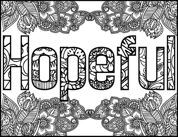 Hopeful Positive Word Coloring Book Printable Coloring Book for ...