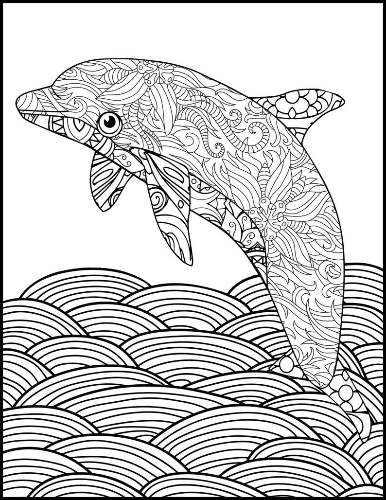 Printable Coloring Page - Adult Coloring Page - Dolphin Coloring-Animal  Coloring Page for Adults -Coloring Pages for Adults - Dolphin Lovers