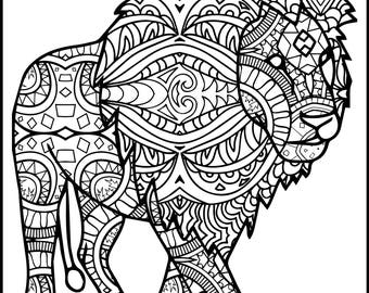 3 Printable Pages for Coloring for Lion Lovers - Coloring Bundle for Adults - Lion Coloring Pages - Adult Coloring Pack -Adult Coloring Book