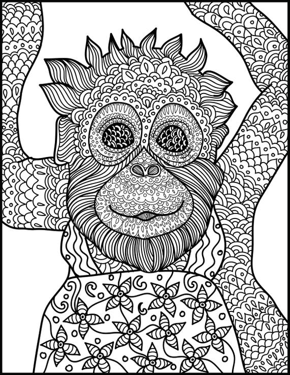 Animal Coloring Page: Monkey Printable Adult Coloring Page - Monkey Coloring Page for Adults -