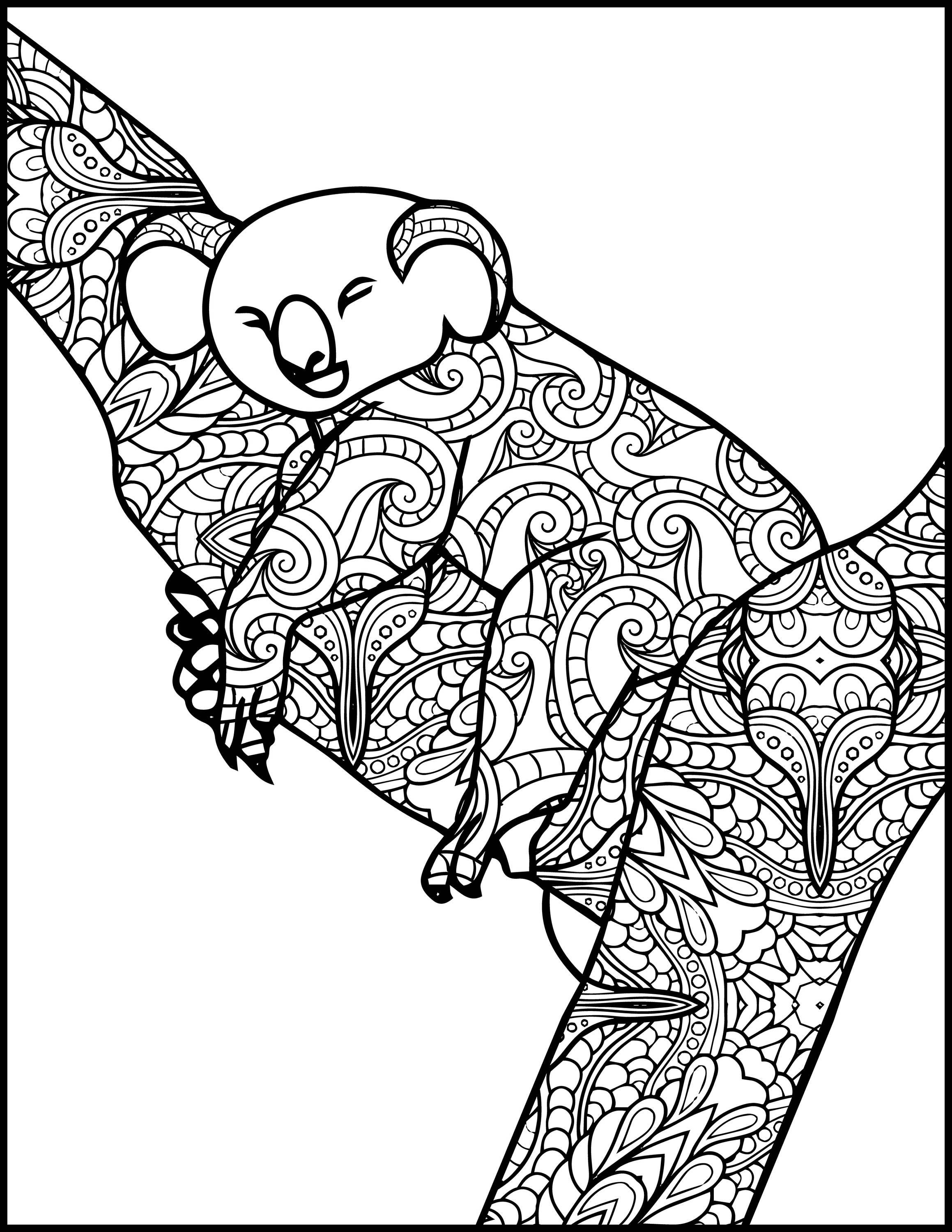 Animal Adult Coloring Page Koala Printable Coloring Page ...