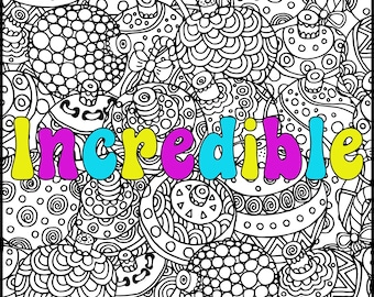 Positive Word Coloring Page - Incredible Positive Adult Coloring Page - Inspiring Coloring Page - Printable Coloring Page for Adults