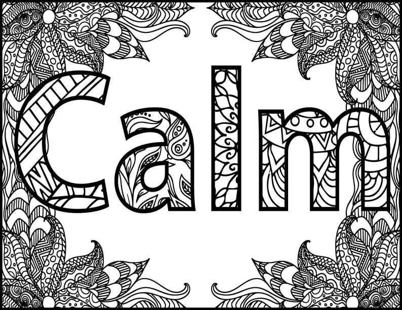 calming coloring pages for adults printable | Positive Word Coloring Page Calm Positive Adult Coloring ...