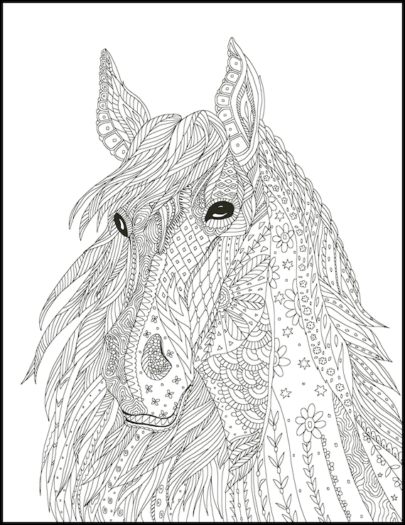2 Printable Coloring Page for Adults and Kids - Fun Coloring Bundle for  Horse Lovers - Multiple Coloring Pages -Adult Coloring Gifts for Her