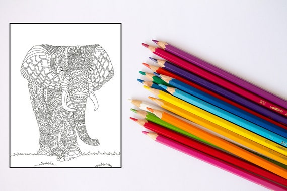 Two Coloring Pages Adult Coloring Pages Printable Coloring Pages Printable Animal Coloring Pages Elephant Rabbit Grown Up Coloring Pages