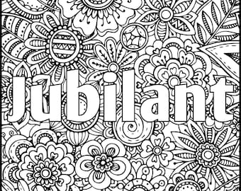 Jubilant Positive Word Coloring Book - Printable Coloring Book for Adults - Adult Coloring Page for Instant Download-Inspiring Coloring page