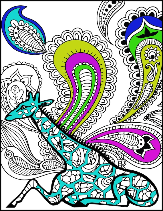 Animal Coloring Page Giraffe Printable Adult Coloring Page Etsy