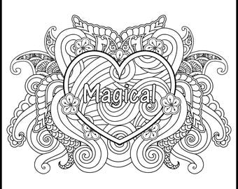 I AM Magical - Adult Coloring Page - Inspiring Coloring Page - Positive Coloring Page - Printable Coloring Page - Coloring Page for Adults -
