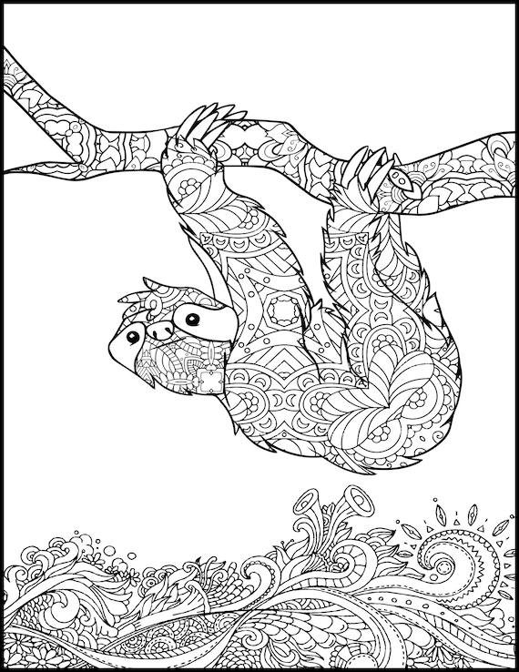 Printable Coloring Page - Adult Coloring Page - Animal Coloring Page for  Adults - Coloring Pages for Adults - Sloth