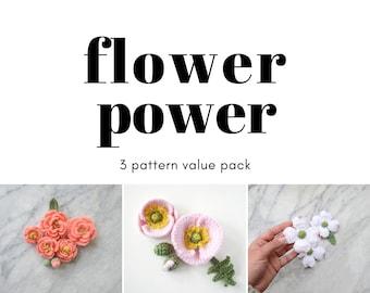 Crochet flower pattern - value pack -