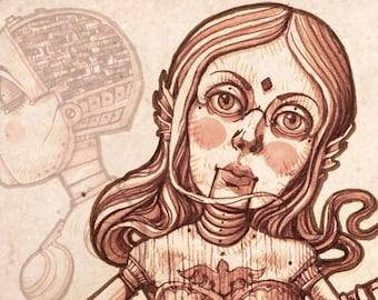 Print GISELE LA SIRÉNE, Steampunk, Puppet, Mermaid, Steampunk mermaid, Mithology, Myth, Automaton, Steampunk decor, Steampunk art print