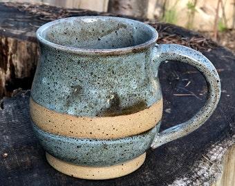 Stoneware Pottery Mug, Handmade, 'Puget Sound Blue'