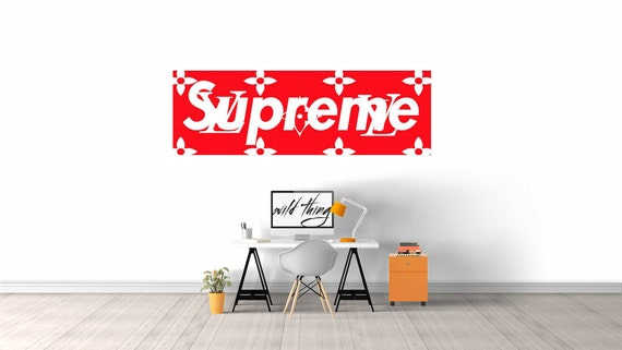 Supreme Louis Vuitton Box Logo Wall Decal Gifts For Him Room Decor Housewarming Gift