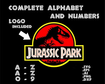 Jurassic Park Complete Alphabet And Numbers In Svg Eps Ai Dxf Png INSTANT DOWNLOAD