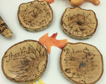 Rustic drink coasters - Fall collection home decor - Autumn home decor - drink coasters - wooden drink coasters - wood burned drink coasters