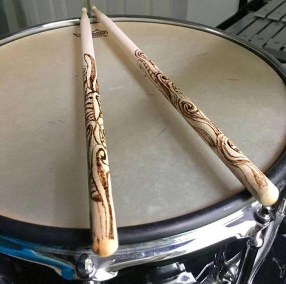personalized drumsticks custom made drum sticks snare drum etsy. Black Bedroom Furniture Sets. Home Design Ideas