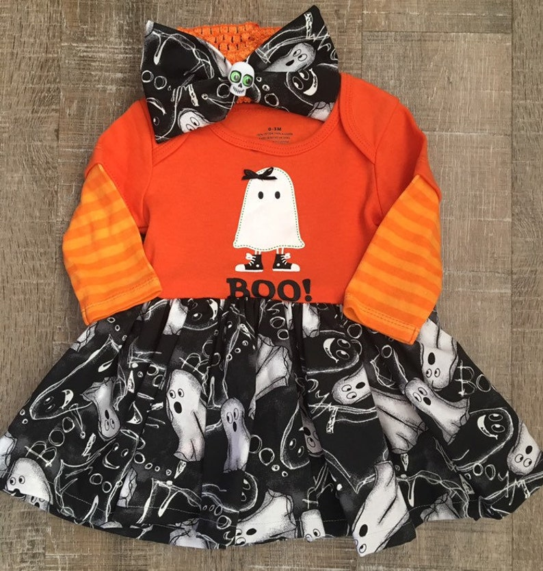 Ghost dress ghoul costume baby ghost outfit baby girl ghost dress Halloween dress ghoul dress 0-3 month ghost costume ghost dress