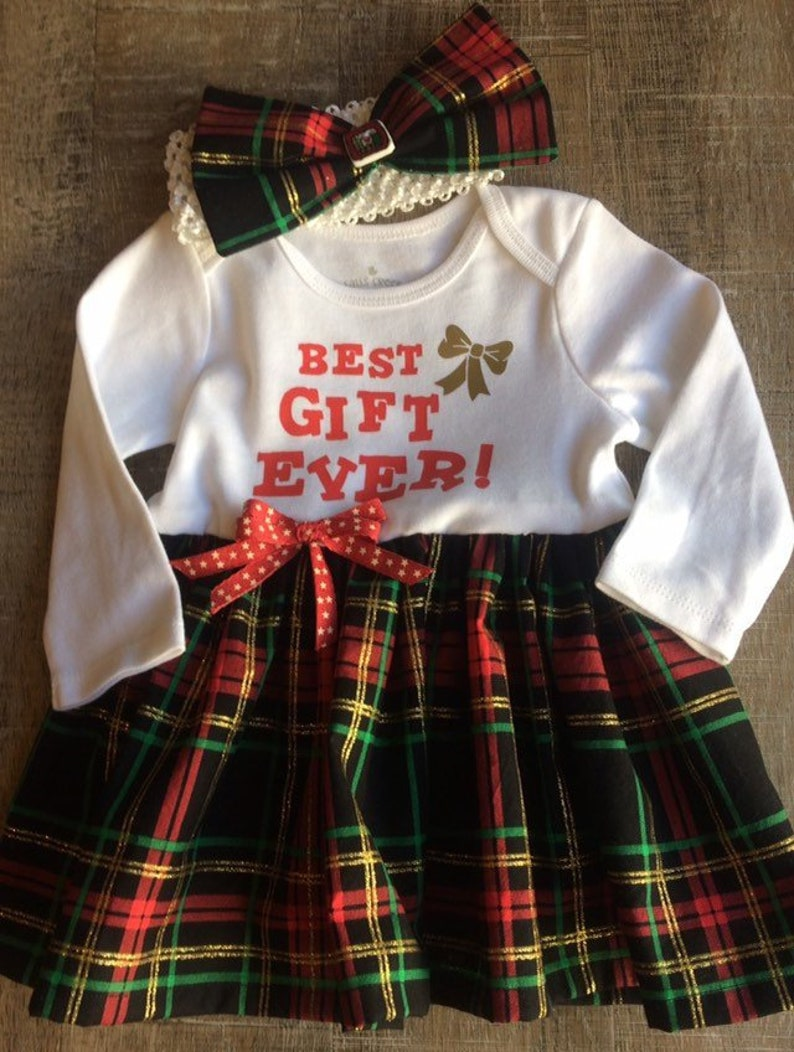 60e6234acbf1 6-9 month plaid Christmas dress Best gift ever baby dress | Etsy