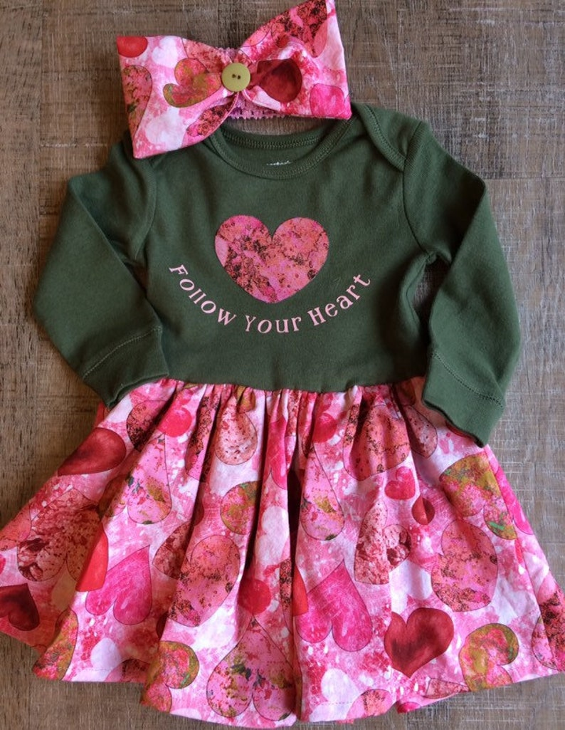 1702c64ed88bb Follow Your Heart,3-6 month Heart print dress, Heart baby dress, Valentine  baby dress, Valentine's Day dress, pink and green baby outfit,3-6