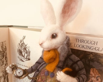 The White Rabbit OOAK White Rabbit Felt Rabbit Art Doll NeedleFelted Rabbit White  Rabbit Ornament Baby Shower Gift Nursery Decor Rabbit Doll 405c80c8c
