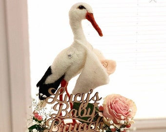 Needle felted Stork/New Baby Stork Gift/Special Delivery Stork/Stork with Baby/Baby Shower Gift/Newborn Gift/New Baby Gift/Baby Shower Gift