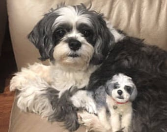 Dog Portrait/Small Needle Felted Pet Sculpture/Custom Needle Felted Dog/Pet Loss Gift/Memorial Pet Portrait/Special Commission Only