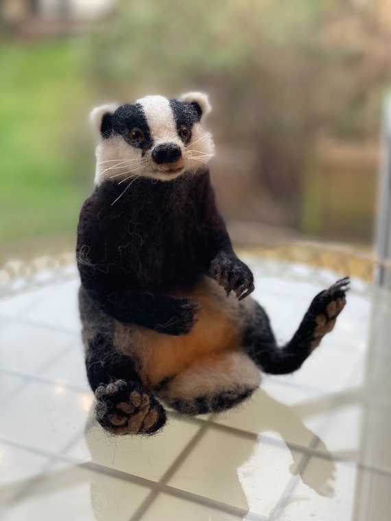 Needle felted badger dressed as bank manager Badger Ornament and gift. a needle felted animal