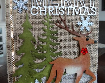 Christmas stag, trees hand made card