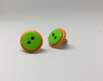 Green-on-orange button earrings