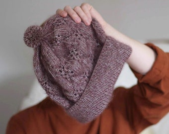Knitting pattern - Lace Beanie - slouchy toque in cotton or silk mohair