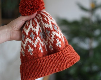 Pompom Hat Orange Brick Unisex Mountain Winter Ski Fair Isle Wool Alpaca  Hand Knitted Beanie for men women child -  pure wool + alpaca befcf24852e0