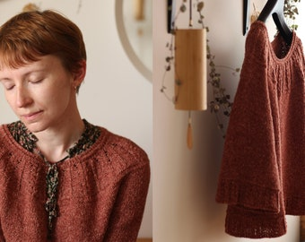 Knitting pattern - Round yoke A-line pullover with 3/4 funnel sleeves - Mimungo