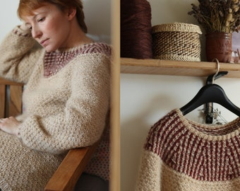 Knitting pattern - Long pullover with round yoke and mosaic colour work - Sediment Sweater