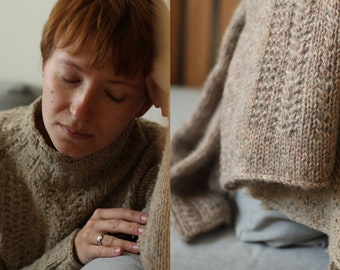 Knitting pattern - Raglan Turtleneck Pullover with Cables - Irish Rover