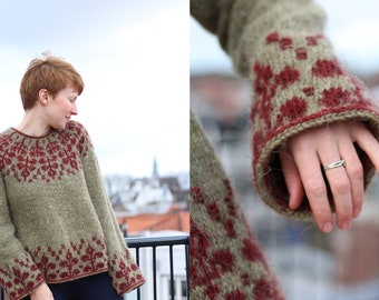 Knitting pattern - Pullover with round yoke and floral fair isle colour work - Florarium Sweater