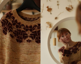 Knitting pattern - fluffy floral colour work pullover - Orchard tales