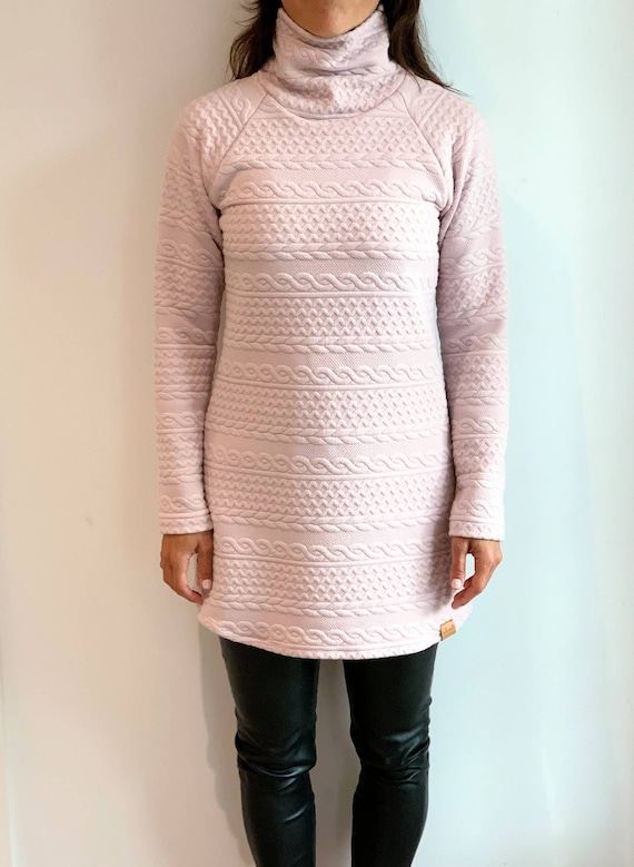 Women's pink high-neck twisted long shirt