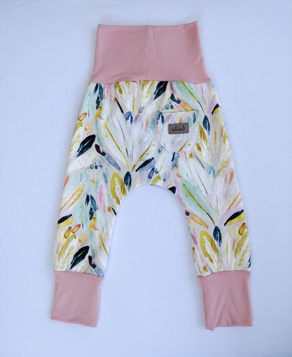 Evolutive pants organic cotton pastel feathers