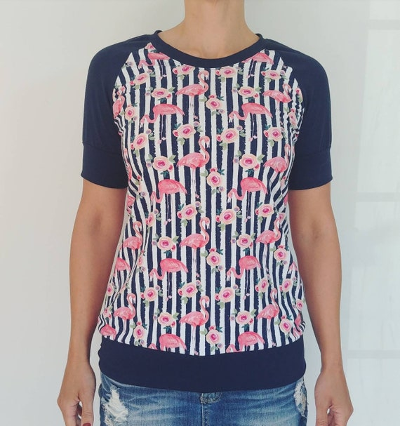 Navy flamingo striped T-shirt
