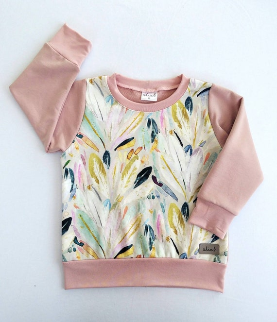 Sweater pastel feathers old pink