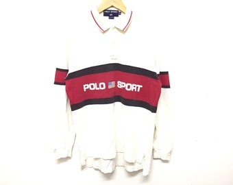 8e2e7600e RARE!! Vintage 90 s POLO SPORT by Ralph Lauren raglan Spell out shirt K  swiss Lo life Polo stadium sportsman P wing tommy hilfiger guess