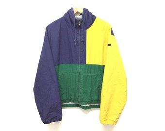 6311e6e3b RARE!! Vtg 90 s POLO by Ralph Lauren Color Block Fleece Lining Hoodie jacket  K swiss Lo life Polo Sport Polo stadium sportsman P wing guess