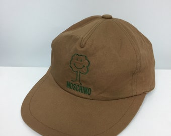 dc378e34848 Vintage 90 s Moschino 6 panel cap emoji embroidered logo free size