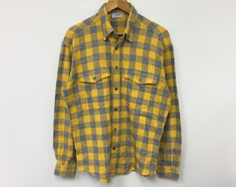 a4565b59 Vintage 90's VERSACE sport yelow tartan over shirt flannel made in italy  medusa versace jeans couture