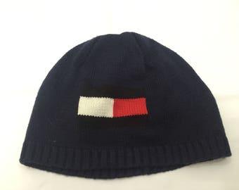 Vintage Tommy Hilfiger Embroidered Big logo Beanies Hat Hip Hop Supreme  Kappa Fubu Karl Kani 850f50c95329