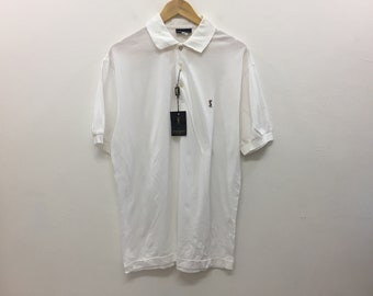 d0d4449290a Vintage Yves Saint Laurent YSL DEADSTOCK Embroidered Logo polo t-shirt  luxury Made in Italy