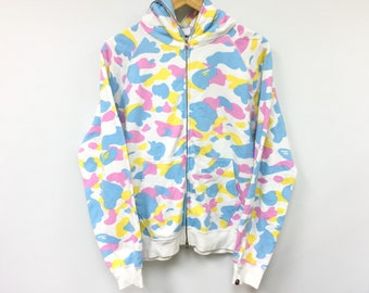 f04ef9ef RARE Bathing Ape Bape Cotton Candy All Over Camo Multi Color Full Zip  hoodie size Small fit Medium