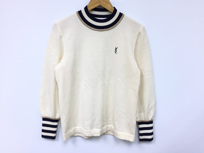 73f1e424c Vintage Yves Saint Laurent YSL 100% wool Knit Gold ring Sweatshirt
